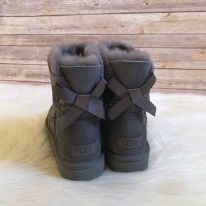 UGG Grey Mini Bailey Bow II Boots